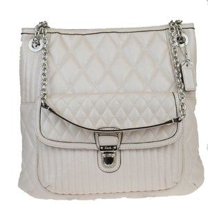 Coach 19854 Chain Leather Shoulder Bag Metallic Be